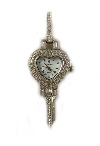 Valentines Heart Designer Look silber Ton Armband Kristall klar Strass Armbanduhr New Box