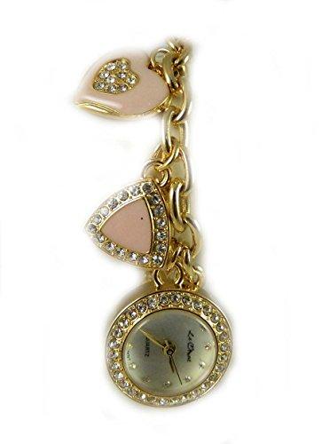 Valentines Herz Triangle Kreis Charm Armband Gold Kristall Strass Watch Neue Box