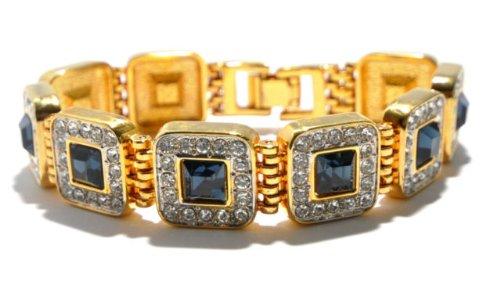 Vergoldet im Art Deco Stil mit Saphir Optik und klare Kristalle o ae Armband 1 Stueck
