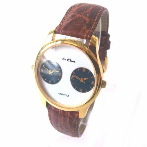Herren Vergoldet Classic Dual Time Zifferblatt Armbanduhr Lederband ideal Geschenk