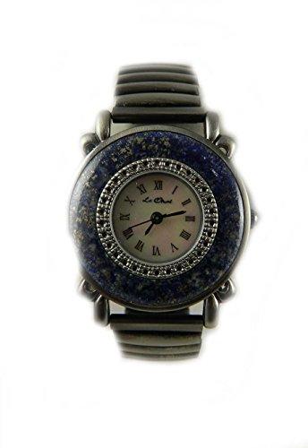 Verschiedene echtem Semi Precious Stone Set Case matt silber Ton Expander Uhr Echte Mutter von Pearl Zifferblatt