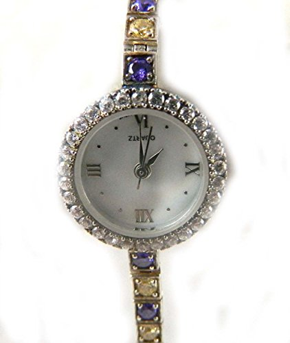 Verschiedene gekennzeichnet Silber Zirkonia Claw Set Fall Echt Perlmutt Zifferblatt Alternate Amethyst und Jonquil CZ Set Armband Uhr