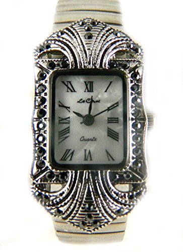 Vintage Look Antik Silber Ton und Edelstahl Expansion Armbanduhr Faux Mother of Pearl Zifferblatt