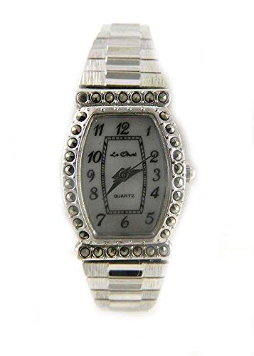 Vintage Look echtem Markasit Silber Ton Echte Mutter von Pearl Zifferblatt Expander Armband Armbanduhr