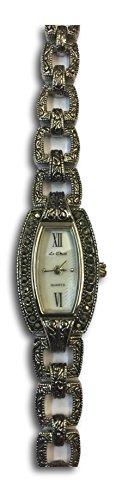 Vintage Deco Style Antik Silberfarben echtem Markasit Damen Armband Armbanduhr NEU