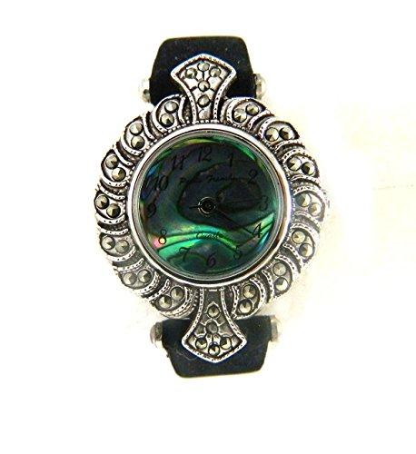 Pretty Vintage Look Deco Stil echtem Abalone Zifferblatt Kunstleder schwarz Wildleder Damen strapwatch
