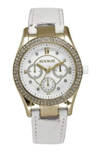 Kookaï-KB 023S1BB Damen-Armbanduhr-Quarz Analog-Weisses Ziffernblatt-Armband Leder Weiss