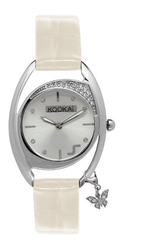 Kookai KB 044s FW Damen Armbanduhr 045J699 Analog silber Armband Leder Weiss