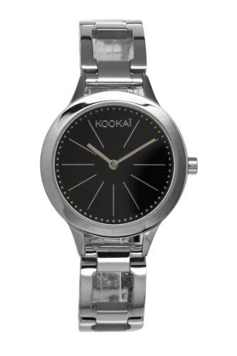 Kookai KB 031 AM Damen Armbanduhr Quarz Analog Zifferblatt schwarz Armband Stahl Silber
