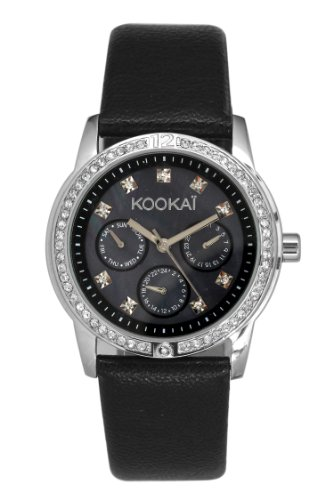 Kookai KO 035S AA Damen Armbanduhr Quarz Analog Zifferblatt schwarz Armband Leder schwarz