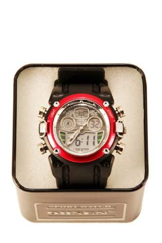 Sport Uhr Armbanduhr Herrenuhr Damenuhr Farbe: schwarzrot 1 Stueck Sportuhr Top modernes Design analog+digital