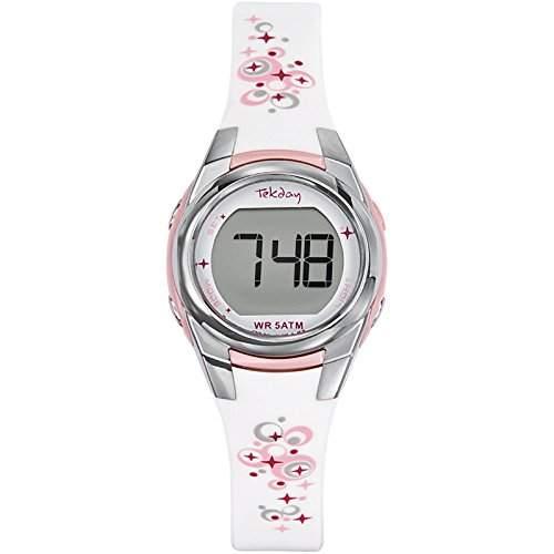 Tekday Damen-Armbanduhr Digital Kunststoff weiss 653608