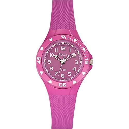 Tekday Unisex-Armbanduhr Analog Kunststoff rosa 653634