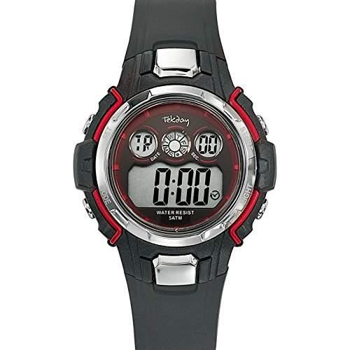 Tekday-653796-Armbanduhr-Quarz Digital-Zifferblatt schwarz Armband Kunststoff schwarz