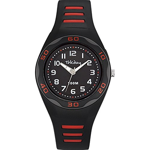Tekday 653490 s Armbanduhr Analog Quarz Schwarz Kunststoff Gurt schwarz Zifferblatt