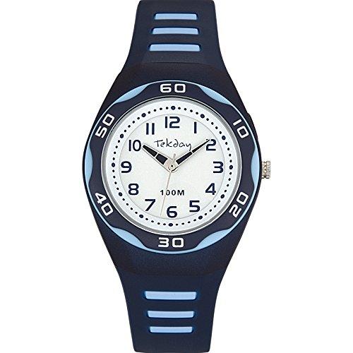 Tekday Uhr Analog Quarz 653492 Kinder mit Kunststoff Armband Blau