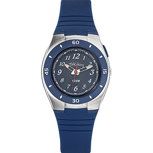 Tekday 653852 Armbanduhr Quarz Digital Zifferblatt Blau Armband Silikon Blau