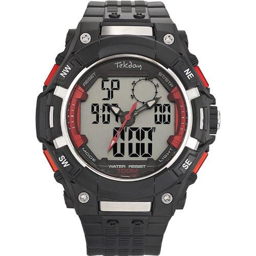 Tekday 655811 Armbanduhr Quarz Analog Digital Zifferblatt LCD Armband Kunststoff schwarz