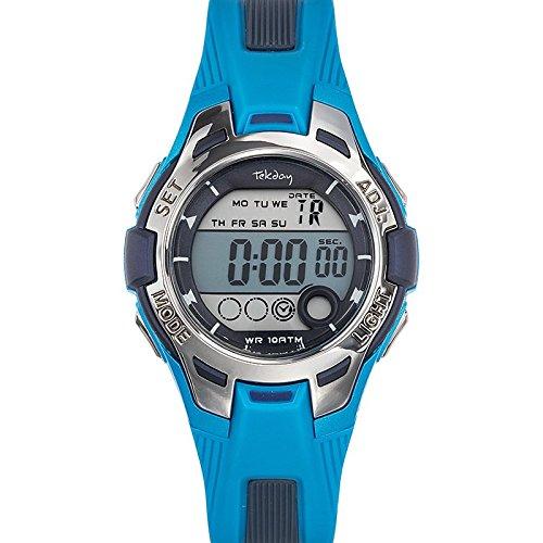 Tekday 653932 Armbanduhr Quarz Digital Zifferblatt Blau Armband Kunststoff blau