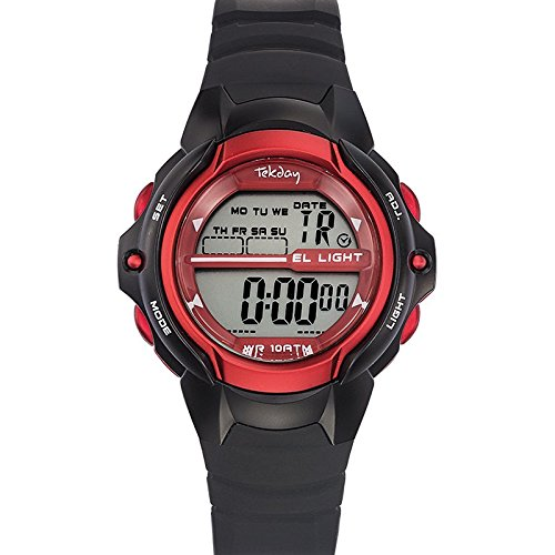 Tekday 653934 Armbanduhr Quarz Digital Zifferblatt Rot Armband Kunststoff schwarz
