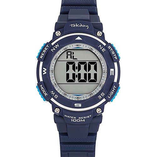 Tekday 653924 Armbanduhr Quarz Digital Zifferblatt Silber Armband Kunststoff blau