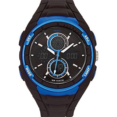 Tekday 655776 Armbanduhr Quarz Analog Digital Zifferblatt LCD Armband Kunststoff schwarz