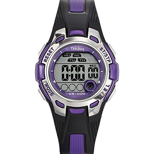 Tekday 653922 Armbanduhr Quarz Digital Zifferblatt Violett Armband Kunststoff zweifarbig
