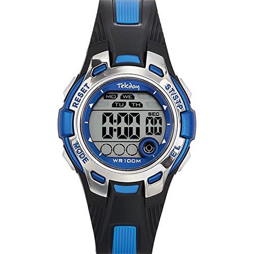 Tekday 653921 Armbanduhr Quarz Digital Zifferblatt Blau Armband Kunststoff zweifarbig