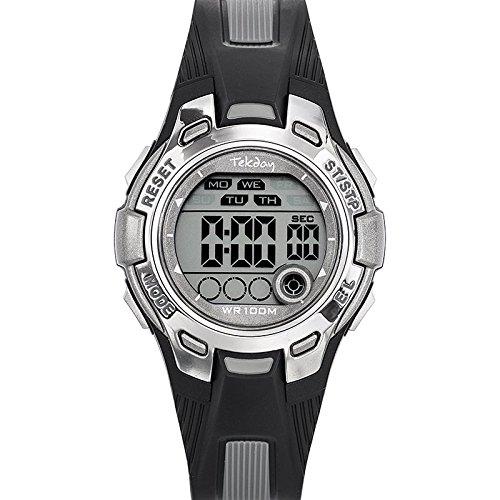 Tekday 653923 Armbanduhr Quarz Digital Zifferblatt Grau Armband Kunststoff zweifarbig