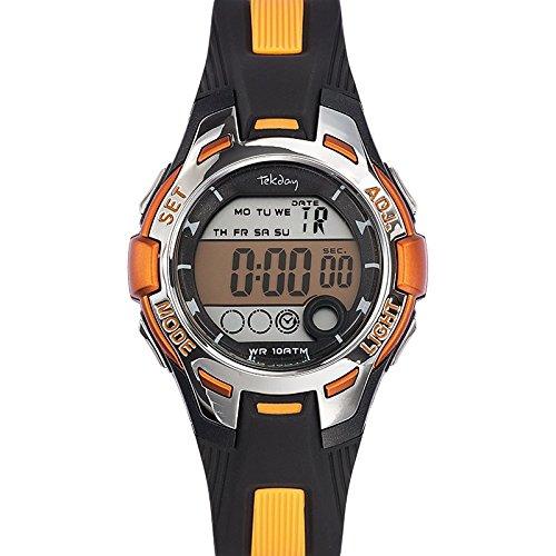 Tekday 653931 Armbanduhr Quarz Digital Zifferblatt schwarz Armband Kunststoff zweifarbig