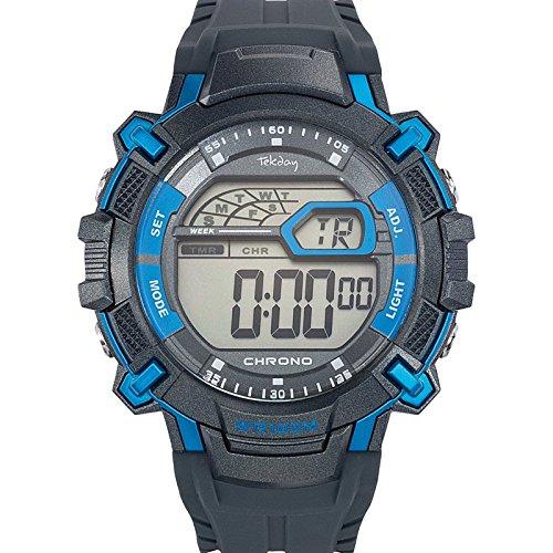 Tekday 655896 Zeigt Herren Quartz Digital Zifferblatt Grau Armband Kunststoff grau