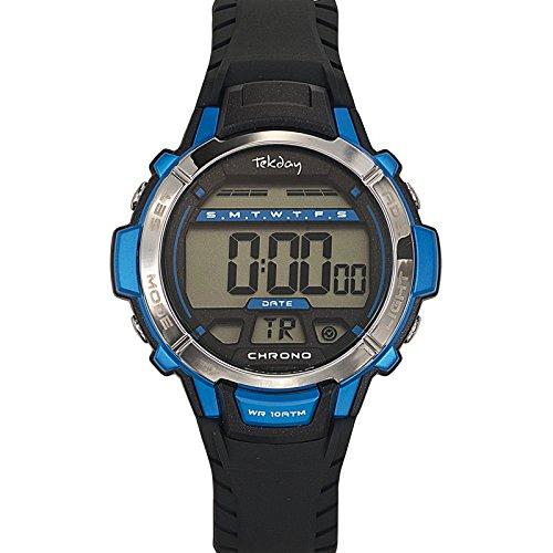 Tekday 653816 Zeigt Jungen Quartz Digital Zifferblatt LCD Armband Silikon Schwarz