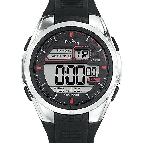 Tekday 655894 Zeigt Herren Quartz Digital Zifferblatt schwarz Armband Silikon Schwarz