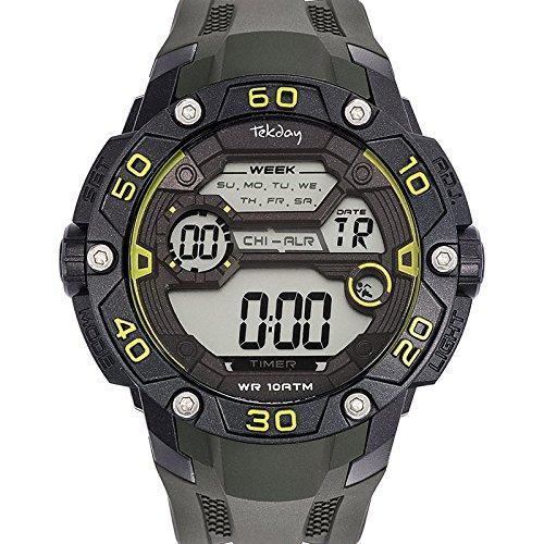 Tekday 655899 Zeigt Herren Quartz Digital Zifferblatt schwarz Armband Kunststoff gruen