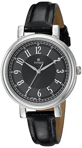 Titan Damen Neo Quarz Metall und Leder Casual Uhr Farbe Schwarz Modell 2554sl02