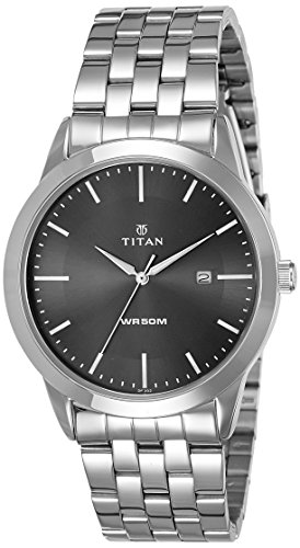 Titan Herren Neo Quarz Metall und Messing Casual Uhr Farbe silberfarbene Modell 1584sm04