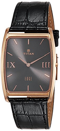 Titan Maennern Edge Quarz Edelstahl und Leder Casual Uhr Farbe Schwarz Modell 1596 WL02