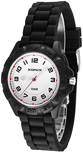 12 Stunden Ziffernblatt XONIX Armbanduhr fuer Damen und Kinder WR100m nickelfrei Licht OP 10