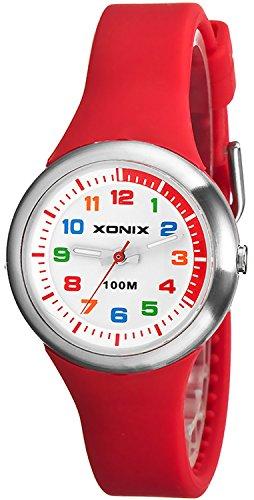 Analoge Armbanduhr XONIX fuer Maedchen und Jungen WR100m nickelfrei XAL31L 1