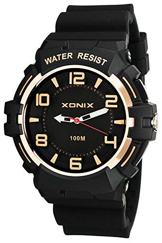 Analoge XONIX Armbanduhr fuer Herren WR100m nickelfrei mit Licht XDHJ9D 4