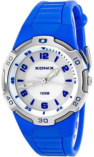 Analoge XONIX Armbanduhr Unisex mit Hintergrundbeleuchtung WR100m nickelfrei QR 10