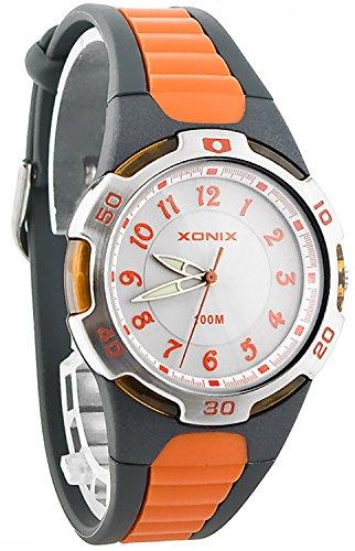 Analoge XONIX Armbanduhr Unisex mit Hintergrundbeleuchtung WR100m nickelfrei QR 7