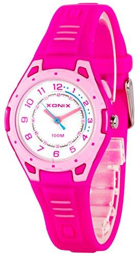 Bunte analoge XONIX Armbanduhr mit Hintergrundlicht WR100m nickelfrei XDK541Y 2