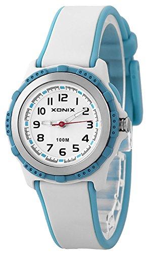 Kleine analoge XONIX Armbanduhr mit Licht nickelfrei wasserfest bis 100m Damen Kinder XAE63O 7