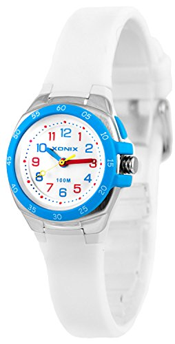 Bunte Analoge XONIX Armbanduhr mit Licht WR100m nickelfreifuer Damen und Kinder XAMCH12 4