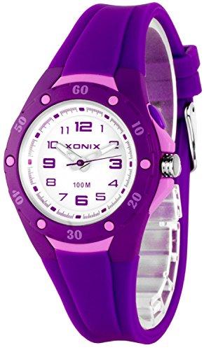 Analoge Damen KInder XONIX Armbanduhr mit Licht wasserfest bis 100m nickelfrei XAWV82 3