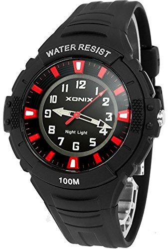 Analoge XONIX Herren und Teenager Armbanduhr mit Licht nickelfrei WR100m IQ 1