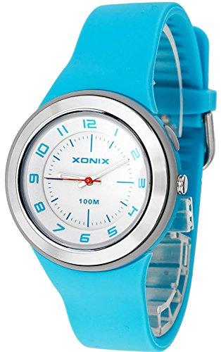 Armbanduhr XONIX mit 12 Stunden Ziffernblatt fuer Damen und Teenager WR100m nickelfrei Licht XAP 2