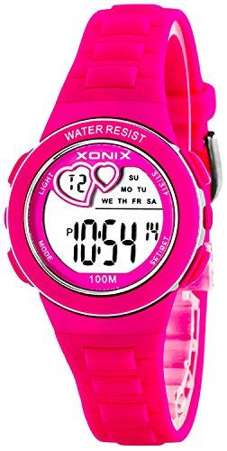Armbanuhr XONIX mit vielen Funktionen und originellem Ziffernblatt 100m Farbe rosa