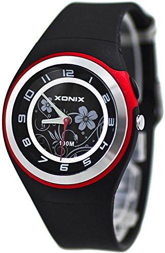 Bezaubernde Damen XONIX Armbanduhr WR100m nickelfrei Licht Blumenmuster PI 1